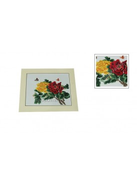 Red Peony + Yellow Peony Embroidery