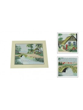 Small Bridge + Flowing River + House Embroidery