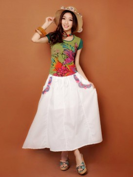 National Embroidery Floral Women Skirt
