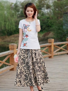 Fashionable Printed Floral Women Skirt