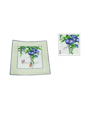 Blue Morning Glory and Butterfly Embroidery