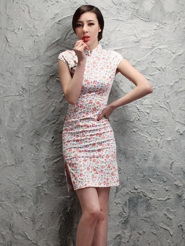 Improved White Small Floral Chinese Dress