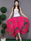 Hot Lotus Pattern Women Skirt