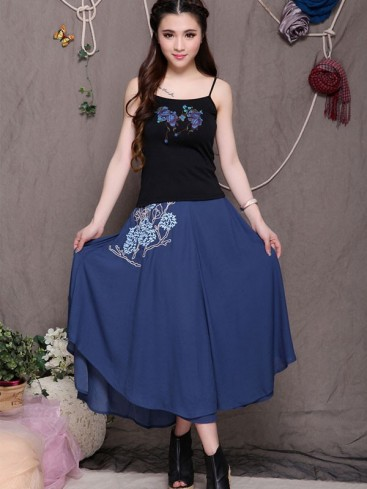 Charming Floral Pattern Chiffon Skirt