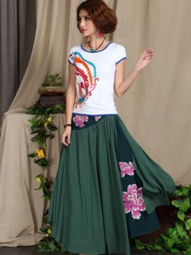 New Style Floral Cotton Skirt