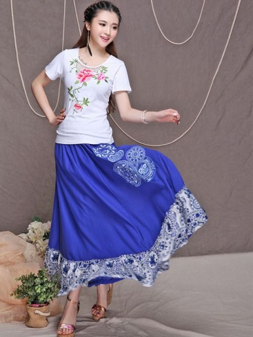Summer Embroidery Style Women Skirt