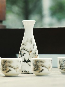 Japanese Sake Sets--Landscape Painting