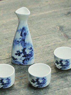 Japanese Sake Sets--Blue Flower