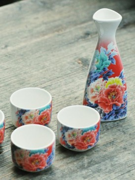 Japanese Sake Sets--Blooming Flower
