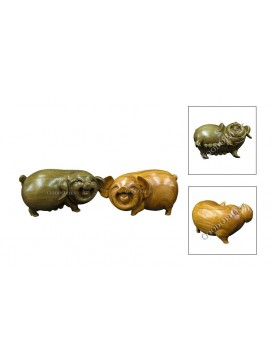 Natural Wooden Animal Decoration Set---Pig