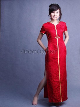 Chinese Red Mini-Dragon Silk Brocade Cheongsam