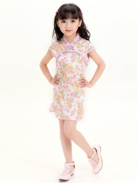 Pretty Flowers Girl's Cheongsam