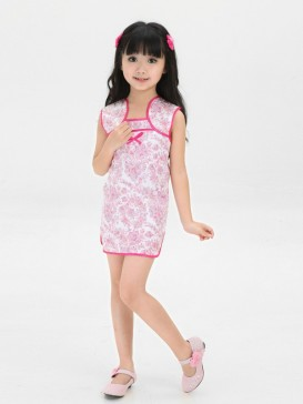 Lovely Girl's Floral Mini Cheongsam