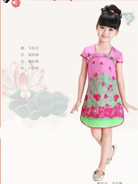 Sweet Floral Pattern Girl's Dress