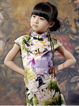 Charming Lotus Pattern Girl's Dress