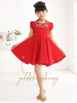 Chinese Red Embroidery Floral Girl's Dress
