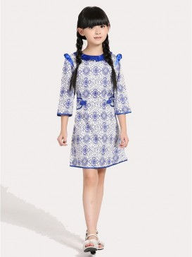 Blue&White Porcelain Floral Style Girl's Dress