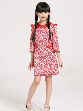 Joyful Red Floral Girl's Dress