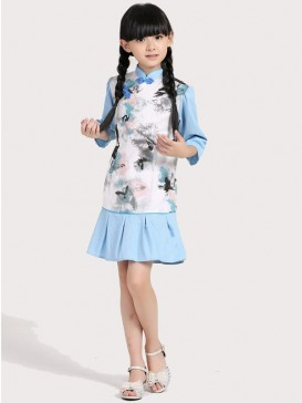 Chinese Butterfly Painting Girl's Dress