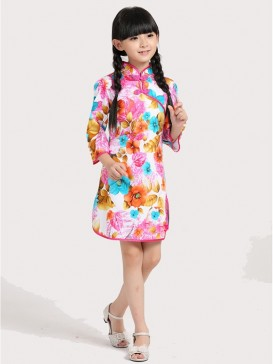 Vivid Floral Pattern Girl's Dress