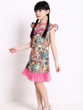 Blossoming Flower Pattern Girl's Dress
