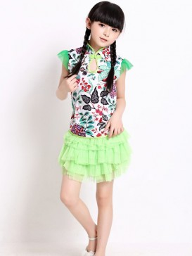 Fashionable Flower Pattern Girl's Dress