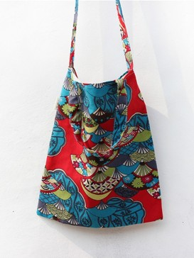 Colourful Fan Pattern Cloth Bag