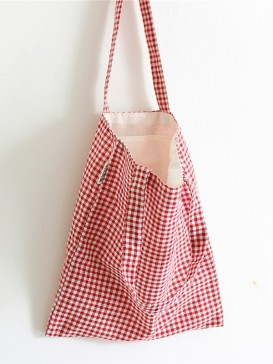 New Red Grid Style Cloth Bag