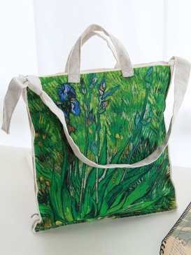 Original Iris Painting Cloth Bag