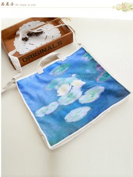 Exquisite Lotus Painting Cloth Bag