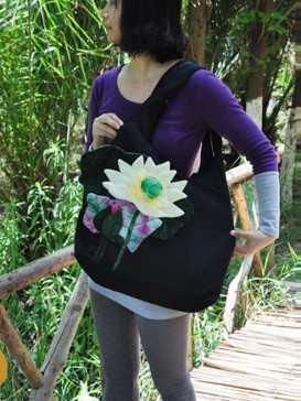 Stereo Lotus Design Cloth Bag