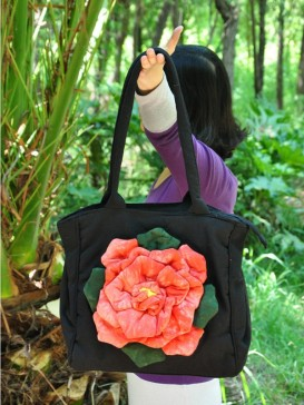 Delicate Applique Floral Cloth Bag