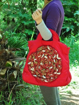 Charming Applique Floral Cloth Bag