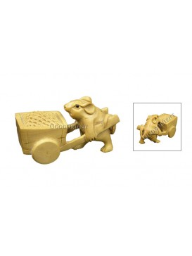 Natural Wooden Animal Decoration---Two Mice Pushing Cart