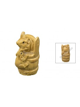Natural Wooden Animal Decoration---Two Mice Climbing Up A Barrel