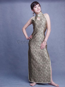 Shining Golden Silk Brocade Dress