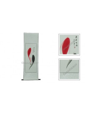 Traditional Chinese Hand Water-color Painting Scroll---Red and Black Fishes