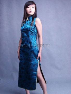 Teal Lake Silk Brocade Dress