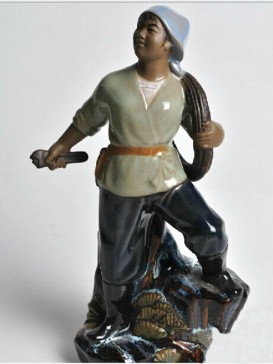 Chinese  Porcelain Figure Decoration--Female Electrician