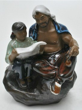 Chinese  Porcelain Figure Decoration--Father&Daughter