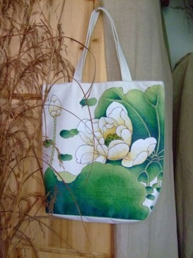 Delicate Hand Painting Design Bag--Lotus