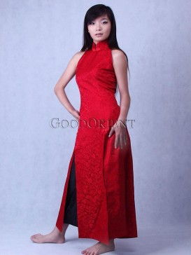 Chinese Grande Red Silk Brocade Dress