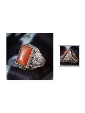 Tibetan-Style Carved Dragon Agate Heavy Ring