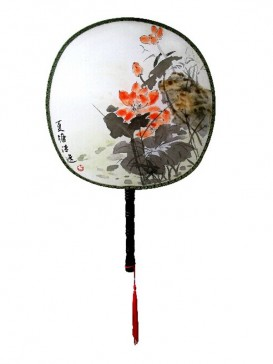 Chinese Hand-Painted Fan--Lotus