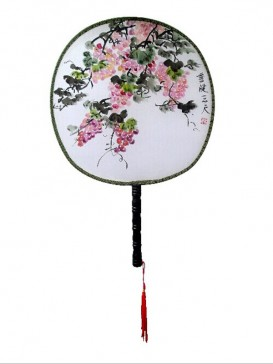 Chinese Hand-Painted Fan--Grape