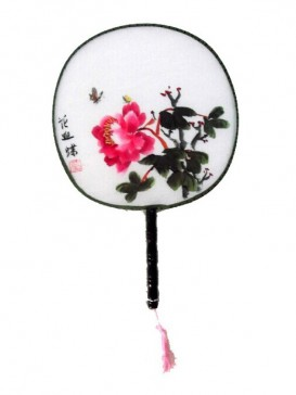 Attractive Chinese Hand-Painted Fan--Peony
