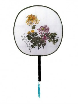 Attractive Chinese Hand-Painted Fan--Chrysanthemum