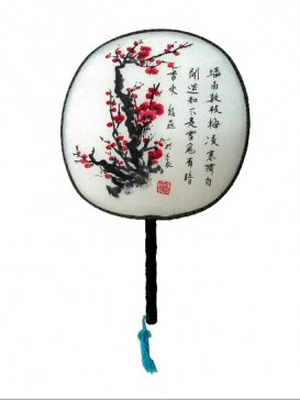 Attractive Chinese Hand-Painted Fan--Plum Blossom
