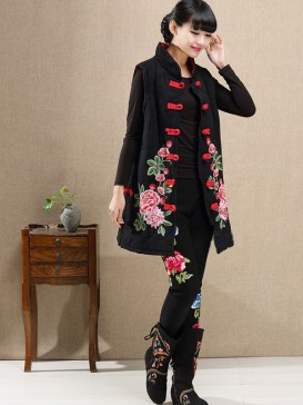 Classical Embroidery Peony Women Vest