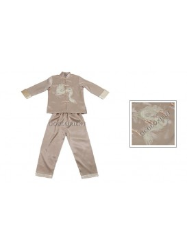 Golden Dragon Long Sleeves Kungfu Suit---Beige